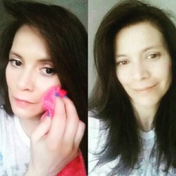 Makeup eraser bfore and after use